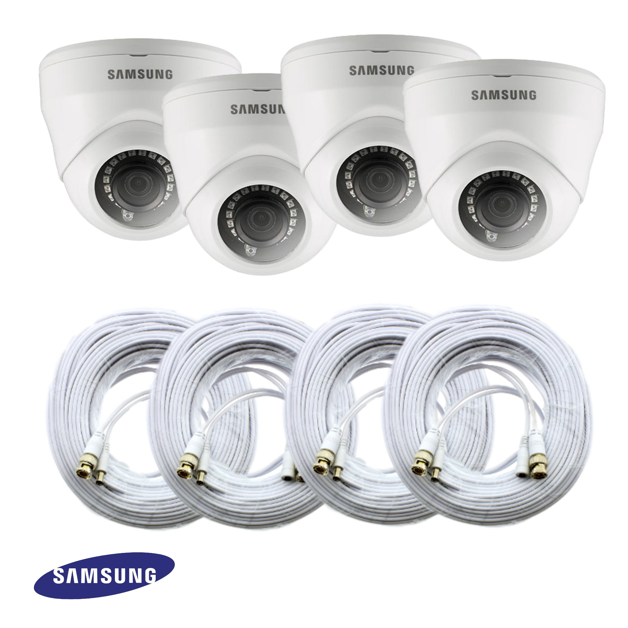 sdc 9443df set of 4 samsung 2mp hd dome security camera kit. Black Bedroom Furniture Sets. Home Design Ideas