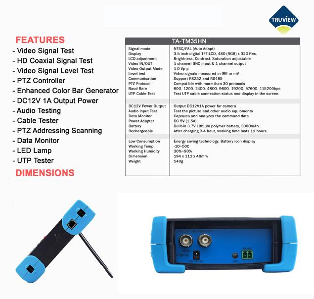 CCTV Tester spec
