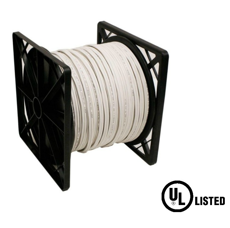 White RG59 Siamese CCTV Cable Solid Copper UL Listed with 18//2 Power 500 Foot Roll