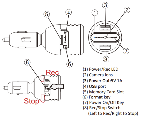 dvr277 car charger hidden hd camera  spy camera