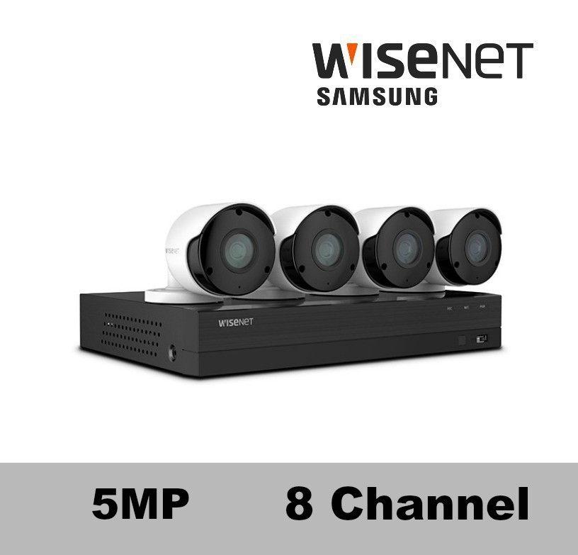 Sdh B84045bf Wisenet 8 Channel 5mp Hd Security Camera System