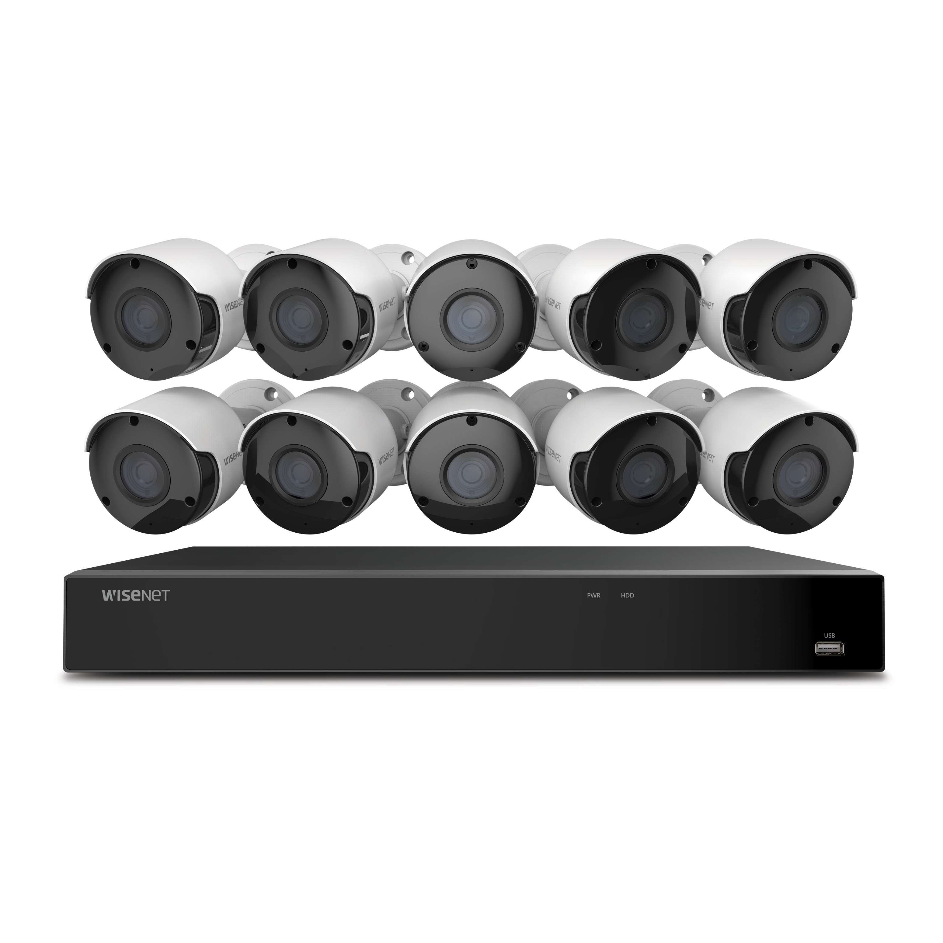 SDH-C85105BF Wisenet 5MP, 16 Channel Security Camera System with 10 Cameras